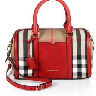 Authentic! BURBERRY Red Medium Alchester Bridle House Check Bag