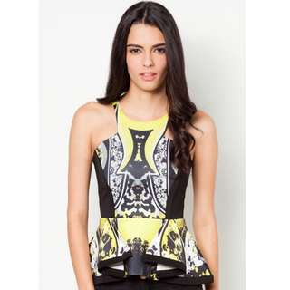 MDS Collections Fancy Peplum Top in Yellow Size S