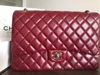Authentic Chanel Maxi in Caviar Dark Red
