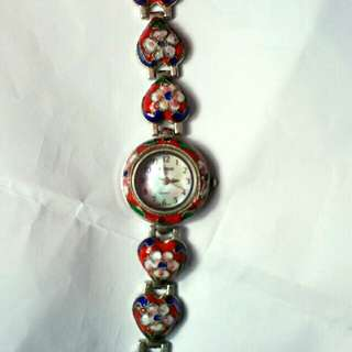 ✈incl.😍all round heart strap Virgo Chinese cloisonne mother pearl dial japanese movt watch
