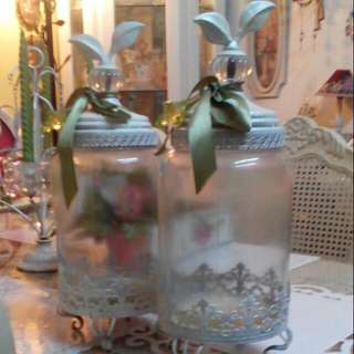 2 Ornamental Apothecary Jars with Steel Lid & Foot