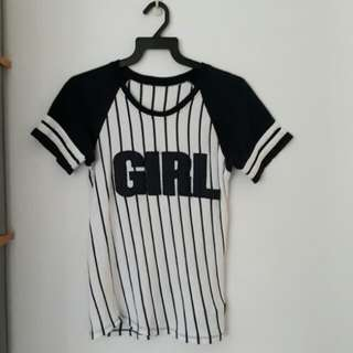"""""""GIRL"""" Navy Blue and White Striped Tee"""