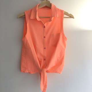 Coral Tied Shirt