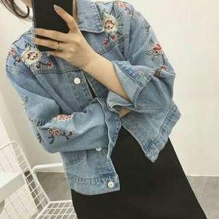[READYSTOCK] Denim floral jacket