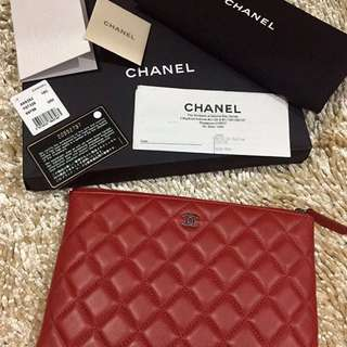 Chanel small pouch red lamb shw