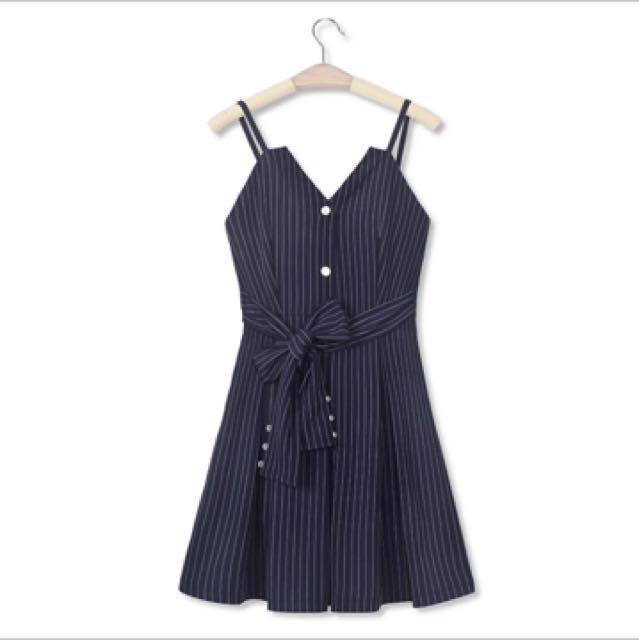 2017秋新款小香風chic氣質條紋洋裝
