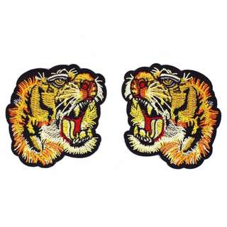 Pair of Tiger Head Gucci Style Iron on Patch