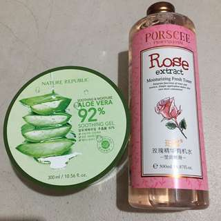 Bundle Sale! Nature Republic aloe vera gel and Porscee rose toner