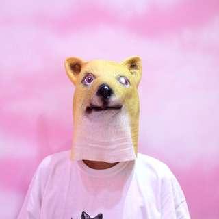 「柴柴 柴犬 柴猫 矽膠ㄉ 面具 頭套 萬聖節 可以考慮 還ㄅ錯 @公雞漢堡」