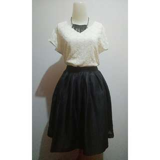 Broken White Blouse + Black Metallic Skirt (1 Set)