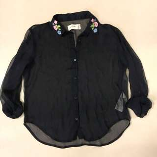 A&F XS深藍雪紡襯衫