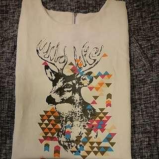 麋鹿長袖雪紡衫