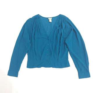 H&M Cropped Canary Blue Polo