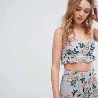 Pull&bear floral cami crop top 歐美渡假風印花套裝 吊帶背心+短褲