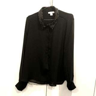 Sheer Black Sequin Collared Blouse