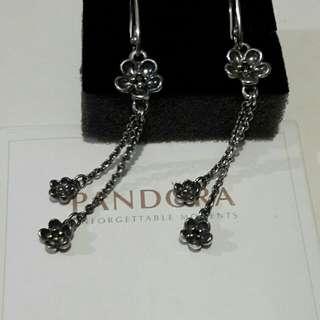 PANDORA Silver, 14ct Gold & Black Spinel Flower Drop Earrings