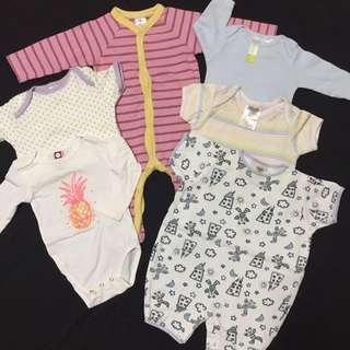 3-6m 6pcs Baby Sleepsuit/Rompers/Jumper