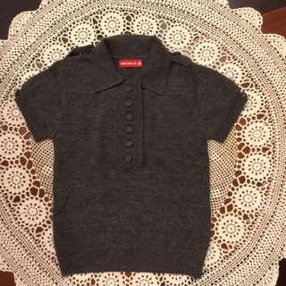 二手WHY AND 1/2女童灰色短袖羊毛polo衫