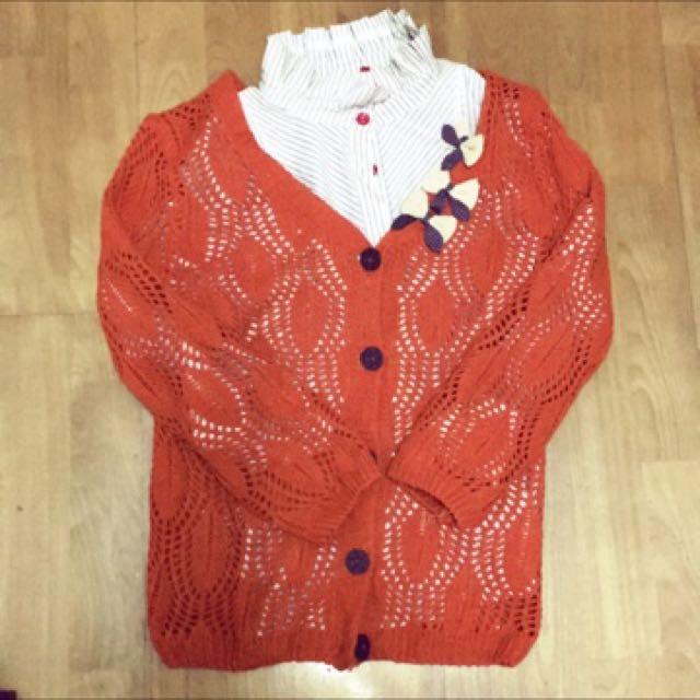 橘色針織外套