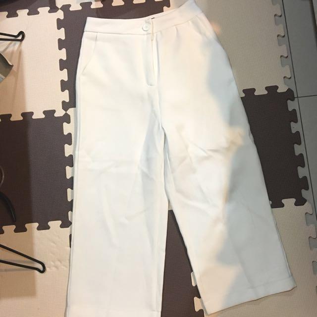 [全新]高腰白色寬褲