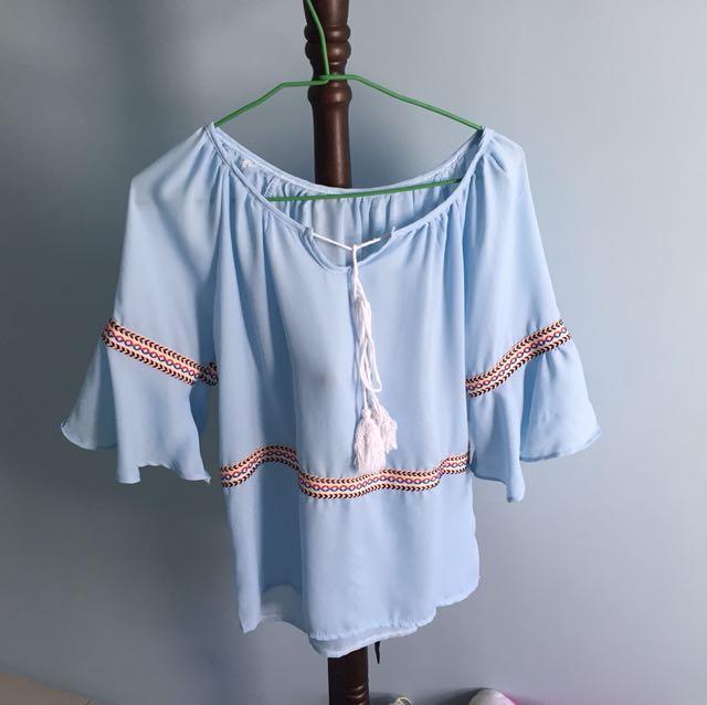 波希米亞風藍色上衣❤️