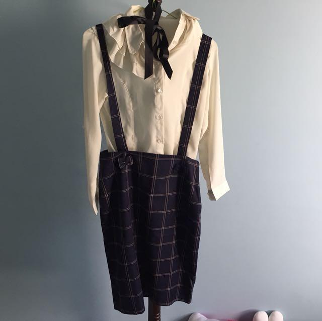 ❗️整套賣-氣質白上衣+格子蝴蝶結吊帶裙❤️