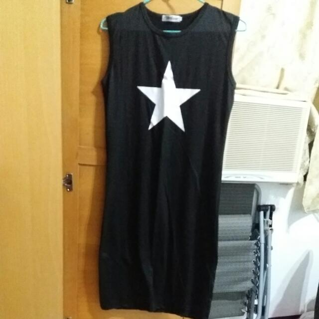 星星休閒長裙(黑色)