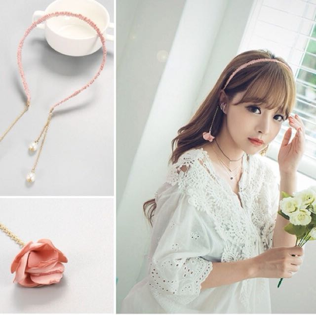 韓國簡約甜美花朵珍珠髮箍