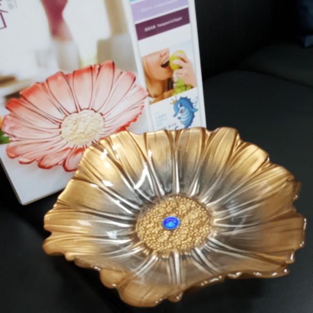 玻璃花朵水果盤 厚型