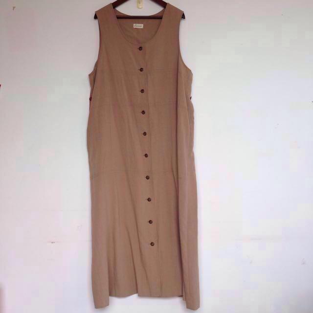 [ $ 299 免運 ]Vintage 古著 全開襟 棉麻 寬鬆 長版 背心 連身裙 洋裝