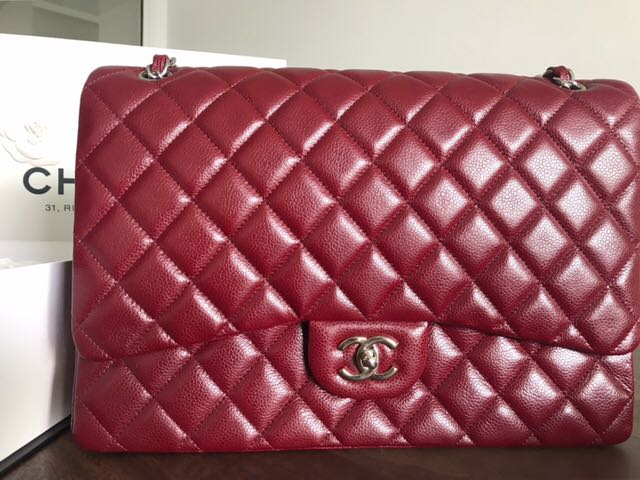 Authentic Chanel Maxi in Caviar Dark Red