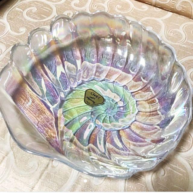 (全新)日本製強化玻璃彩色貝殼形狀大盤 Craft Happy Happening KAMEI GLASS