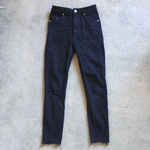 Abrand high-waisted black skinny jeans