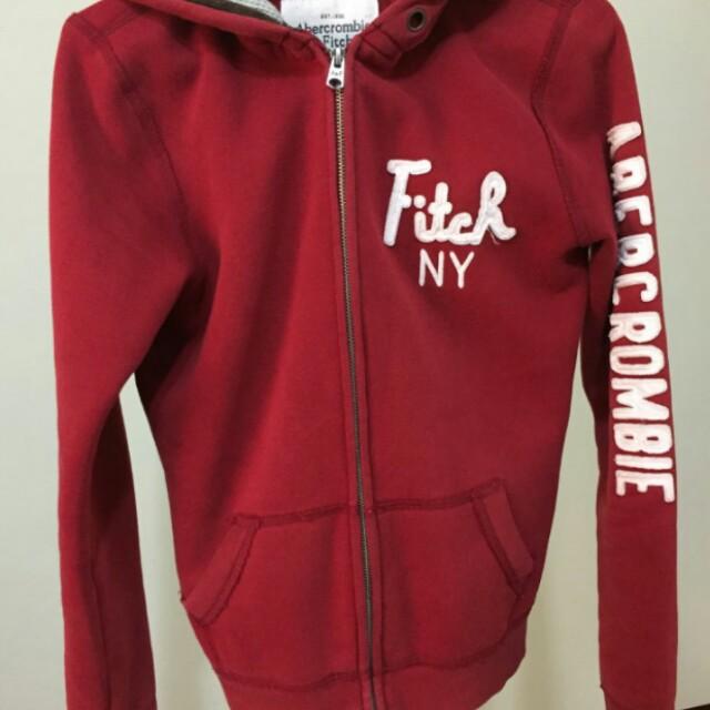 A&F酒紅色外套