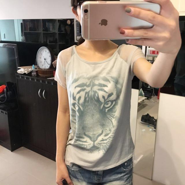 A&F XS號灰色透膚雪紡tshirt