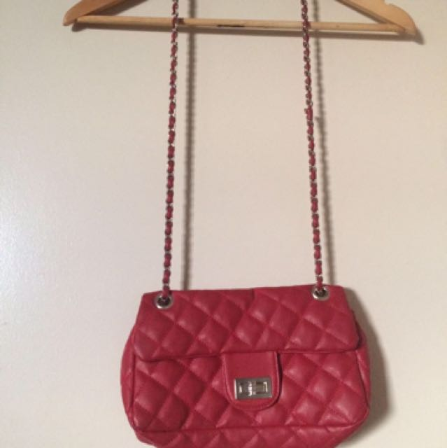 Aldo shoulder chain bag and Aldo red stiletto with ankle chain