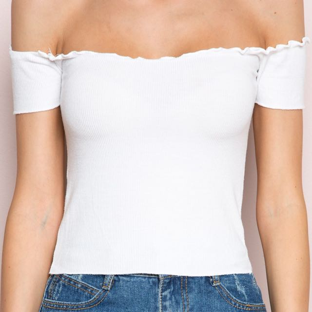 5076efeb360fa2 authentic brandy melville jessie   anya off shoulder rib top ...