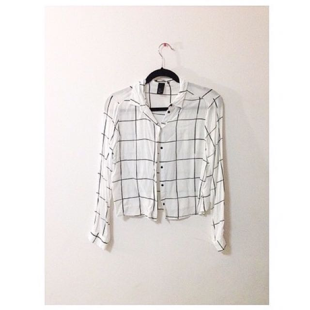 Authentic H&M Checkered Grid Button Up Crop Top Shirt Blouse