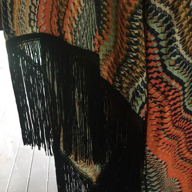 Beautiful silky shawl with tassels