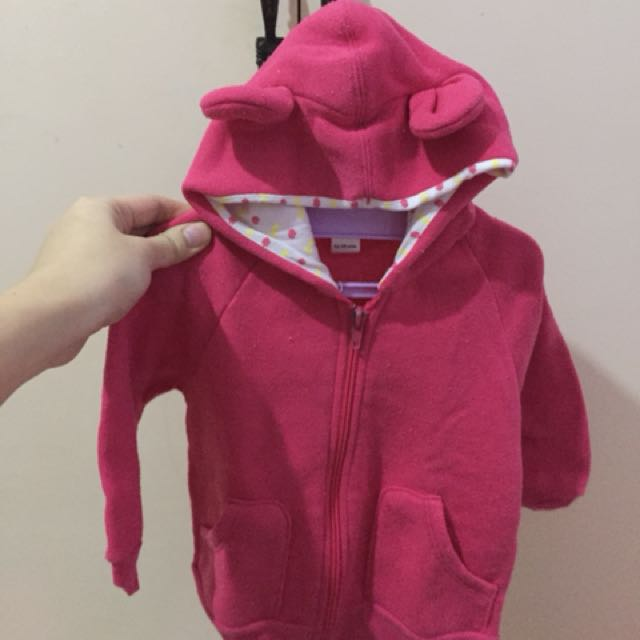 Bebe pink jacket with hooded ears