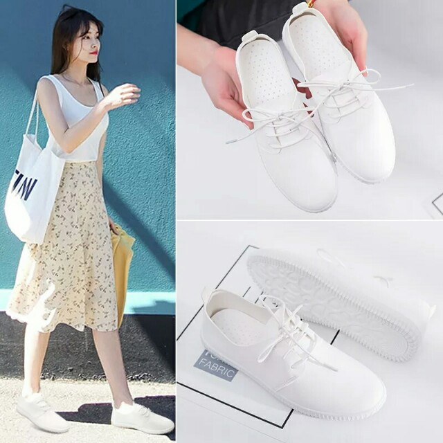 [Beststyler] women student white casual sport shoes/ white casual flat shoes