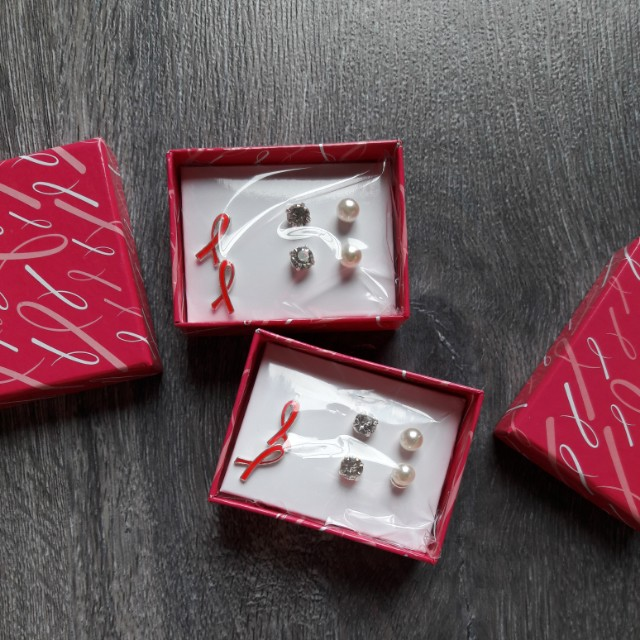 Breast cancer awareness earring sets