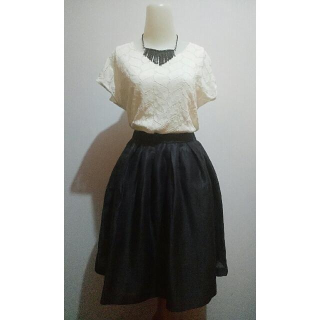 Broken White Blouse + Black Metallic Skirt (1 Set)
