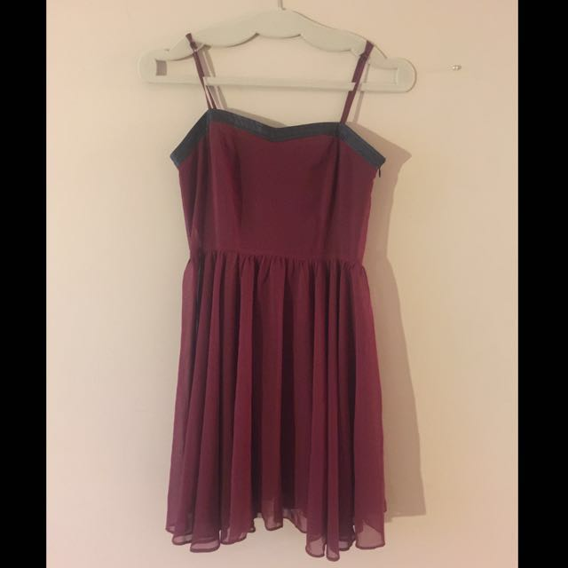 Burgundy Chiffon Mini Dress
