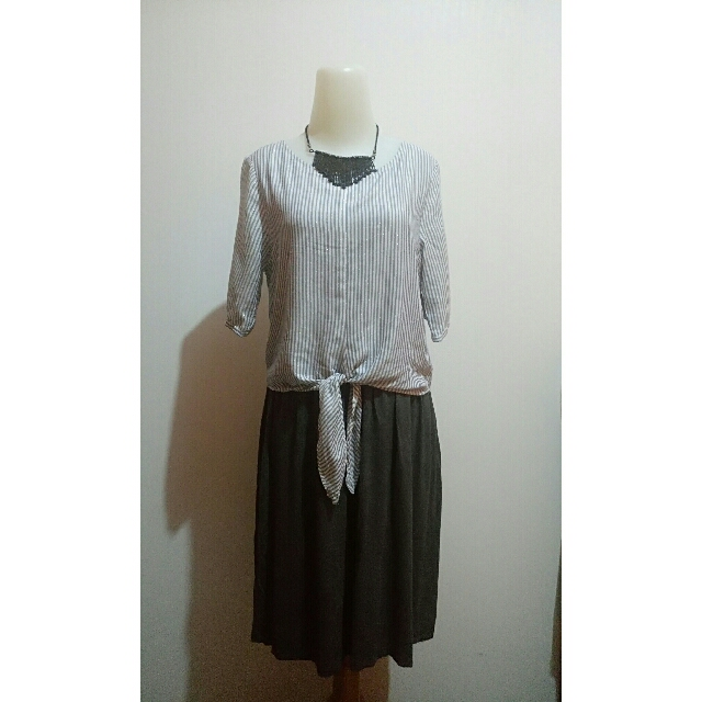 Casual Dress with White Blue Stripes & Grey Skirt