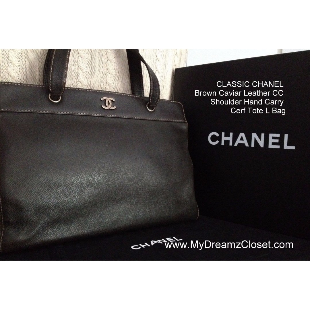 cf7e883d3e77 CLASSIC CHANEL Brown Caviar Leather CC Shoulder Hand Carry Cerf Tote ...