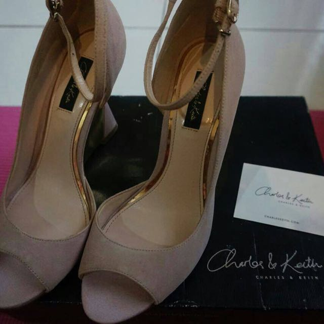 Charles & Keith dusty pink suede wedges