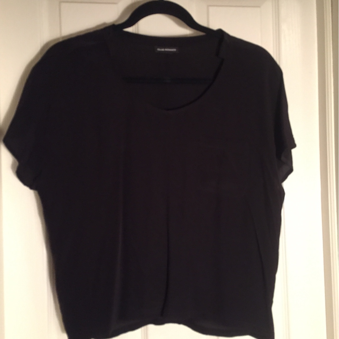 Club Monaco black silk t-shirt