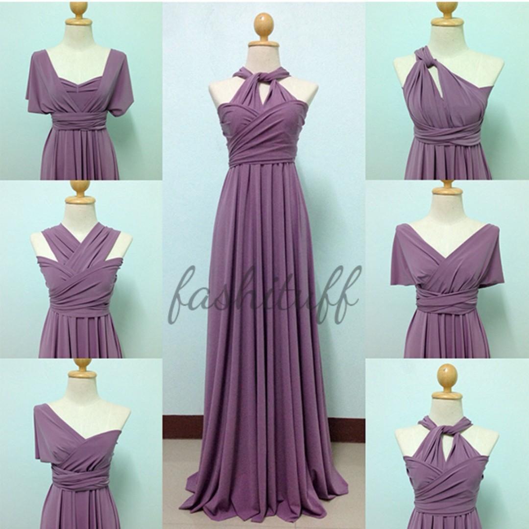Dark Lilac Infinity Dress / Convertible Wrap Maxi Dress, Preloved ...