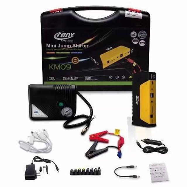 Emergency 12V Car Battery Jump Starter + Portable Tire Inflator